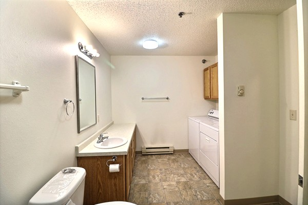 Bathroom in a two bedroom apartment.